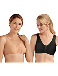 33ca3e2786748 Amoena  Frances  Front Fastening Post Surgical Bra - TWIN PACK - Black Nude