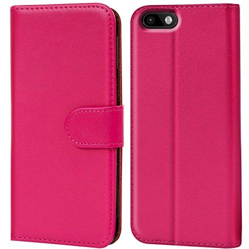 Verco Lenny 3 Hülle, Handyhülle für Wiko Lenny 3 Tasche PU Leder Flip Case Brieftasche - Pink