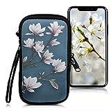 kwmobile Funda para móviles M - 5,5' - Estuche de [Neopreno] con [Cierre] para móvil - Carcasa con diseño de Magnolias