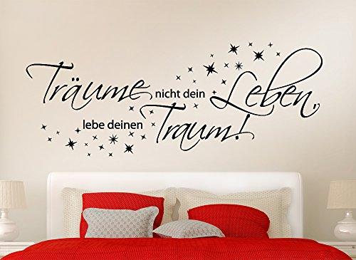 Grandora Wandtattoo Träume nicht dein Leben + Sterne II Wohnzimmer Schlafzimmer Sticker Aufkleber Wandaufkleber Wandsticker W3048