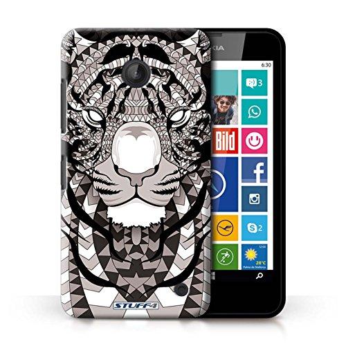 Kobalt® Imprimé Etui / Coque pour Nokia Lumia 635 / Tigre-Mono conception / Série Motif Animaux Aztec Tigre-Mono
