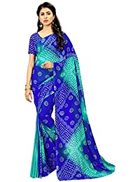 Dubai Creation Women's Georgette Printed Blue Color Saree For Party Wear And Latest Design With Blouse Piece