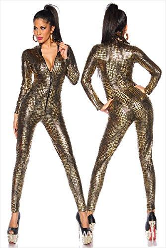 Gyan Sexy Damen Latex Wet Look Zip Catsuit Schlangenhaut Bodysuits Leder Halloween-Kostüm,Brass,L