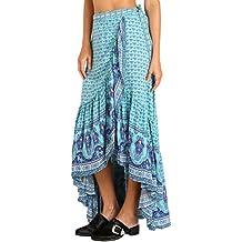 Mujeres estilo gitano Blue Print sarong vestido para la playa
