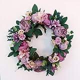 Baoblaze Kunstblumen Karnz Pfingstrose Kranz Blütenkranz Dekokranz für Tür Tisch Stuhl Wand usw. - 4 - 5