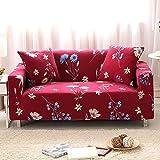 FORCHEER Sofabezug Elastischer Sofaüberwurf Blumen-Muster Sofa Cover Stretch Hussen für Sofa/Couch in Verschiedenen Größen( 2-Sitzer, 145-185cm, Muster #1 )