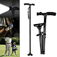 Folding Walking Sticks, Travel Adjustable Folding Canes for Men and Women with Led Light and 5 Adjustable Height Levels