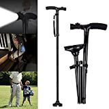Folding Walking Sticks, Travel Adjustable Folding Canes for Men and Women with Led