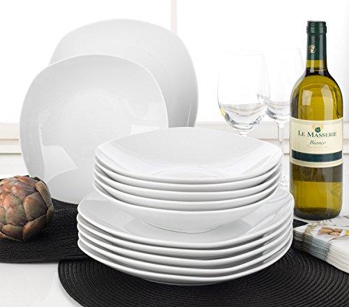 Home4You Tafelservice Geschirrset Tafel-Service BELLISA | 12-tlg. (6 Personen) | Weiß | Porzellan