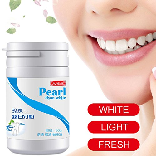 Venmo Zahnaufhellung, Natürliches Aktivkohle Pulver, Bleaching Zähne, Teeth Whitening, Activated Charcoal Teeth Whitening Powder, Zahnaufhellung Pulver Zahnreinigung für weiße Zähne (Weiß) - Pfefferminze Whitening Zahnpasta