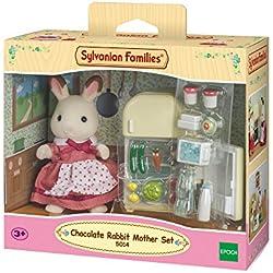 SYLVANIAN FAMILIES Rabbit Mother Set Maman Lapin Chocolat/Réfrigérateur, 5014, Multicolore