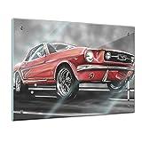 Bilderdepot24 Memoboard 60 x 40 cm, Männermotive - Mustang Graphic - Memotafel Pinnwand - Ford Mustang - Sportwagen - Auto - rot - roter Mustang - Retro - Küche - Esszimmer - Glasbild - Handmade