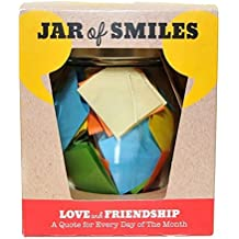 """Love & Friendship in a Jar. Month of Thoughtful & Happy Quotations For Your Friends in a 314ml Orcio Glass Jar. Perfect Gift. 31 Multi-Colored Quotes. """"Be The Reason Someone Smiles Today""""- Gift box."""