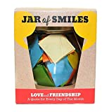"""Love & Friendship in a Jar. A Month of Thoughtful Quotations - NEW STYLE Premium Italian Glass Jar. 31 Multi-Coloured Quotes to Show Someone How Much You Value Their Friendship. """"Be The Reason Someone Smiles Today"""" Complete with gift box."""