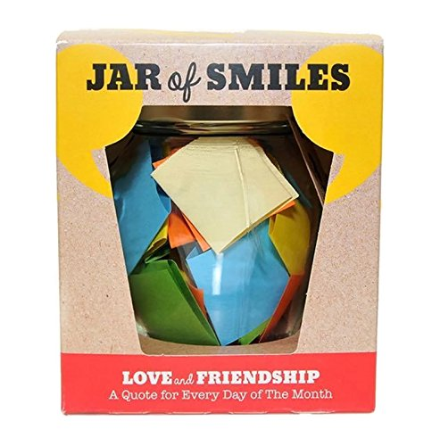 "Love & Friendship in a Jar. Month of Thoughtful & Happy Quotations For Your Friends in a 314ml Orcio Glass Jar. Perfect Gift. 31 Multi-Colored Quotes. ""Be The Reason Someone Smiles Today""- Gift box."