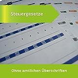 Steinfacher-Griffregister für STEUERGESETZE ohne Abdruck von amtlichen Überschriften, 644 bedruckte Aufkleber + 129 Aufkleber zur Selbstbeschriftung (aktueller Rechtsstand), nur 4ct pro Aufkleber
