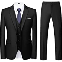 Men Suits 3 Piece Slim Fit Single Breasted Two Button Wedding Tuxedo Suit Blazer Waistcoat Trousers