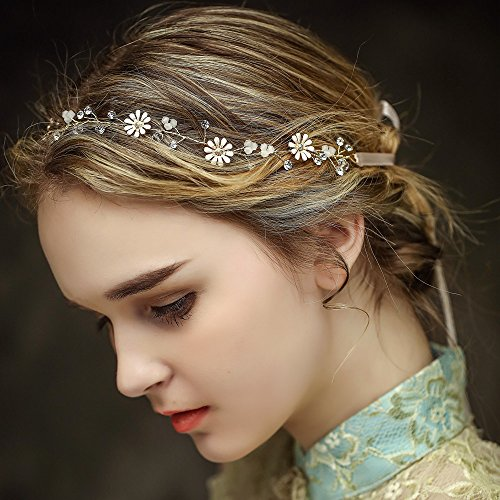 Vintage Braut Haar Kamm Rebe Stirnbänder Strass Haarschmuck Haarspangen Perlen Blumen Hochzeit Haarteile Crystal Strass Perlen Hochzeit Haarschmuck Brauthochzeits-Stirnband Haarband -