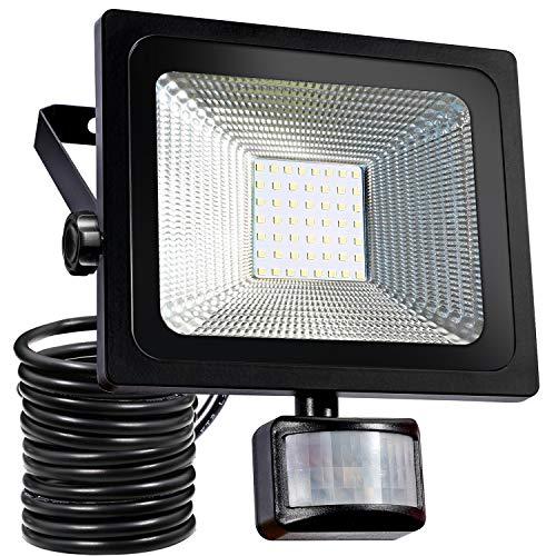 50W LED Fluter bewegungsmelder außen Strahler Licht Scheinwerfer Außenstrahler Wandstrahler 4200LM Schwarz Aluminium IP65 Wasserdicht AC 85-265V Weiß (Schwarz Licht Scheinwerfer)