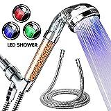 Baban Soffione doccia 8 Mode Funzione con supporto doccia e 1.5 Metri Tubo,soffione doccia in Acciaio Inox-Aspetto elegante