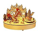 HAAC LED beleuchtete Weihnachtsstadt aus Holz mit Musik, Häusern, Weihnachtsbaum, Schneemann und drehenden Weihnachtsfiguren