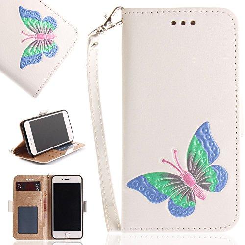 Tasche Hüllen Schutzhülle - case cover echtes Leder en PU Von Hand bemalt Impressum Schmetterling weiß für Apple iPhone 7,iPhone 8 (Von Hand Apple Bemalt)