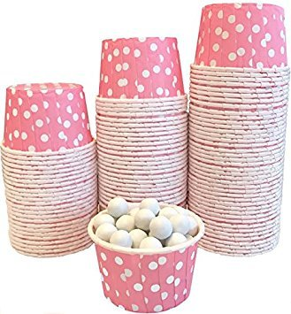 Außerhalb der Box Papier Polka Dot Bulk CANDY Mutter Mini Backförmchen 100Stück rosa mit weißen Punkten