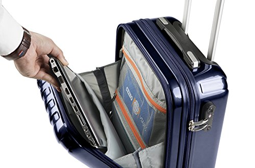 e9f64fa14 Valigia Bagaglio a Mano Tasca porta PC Trolley Cabina Bagaglio Rigido e  Leggero 4 Ruote Doppie Giro 360º Lucchetto TSA Sulema (Blu marino)