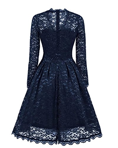 BEIJG Elegantes Spitzekleid-Cocktailkleid Knielanges Weinlese 50s Ballkleid Frauen Party Kleid Navy blau 2