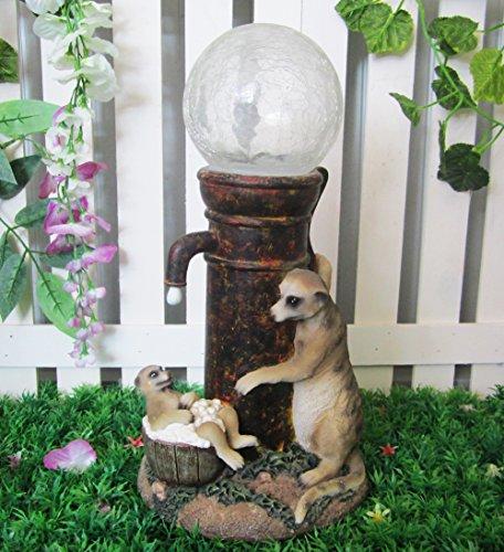 Image of MP Essentials Solar LED Garden Meerkat Multi-Coloured Ball Light Ornament