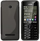 mumbi Custodia in S-TPU compatibile con Nokia Asha 206/206 Dual SIM, chiaro nero