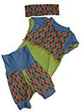 pinkesterne ☆ K5 / Erstlings-Set Babyausstattung Kurze Hose Shirt Stirnband Vögel Khaki Orange Blau