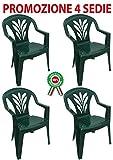 SF SAVINO FILIPPO 4 Pz Poltrona Sedia Taormina in Dura Resina di plastica Verde impilabile con braccioli per Bar Campeggio sagra Ristorante