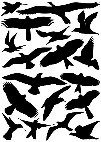 18Pájaro Pegatinas para ventanas, invernaderos, cristal Casas para pájaros Advertencia de protección, Pájaro siluetas de pájaros, protección contra el Pájaro de impacto, ventana protección
