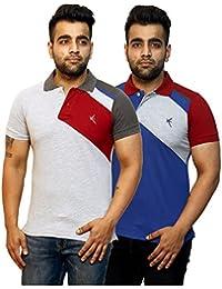 Yross Light Grey & Royal Blue Slim Fit Polo T-Shirt Combo Pack Of 2 - B073S3LPVL