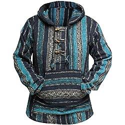 Shopoholic Moda Hippie multicolor sudadera con capucha para mujer Boho baja azul azul XX-Large