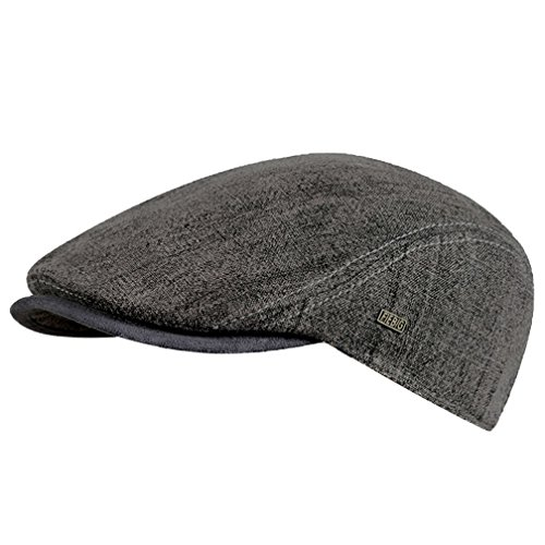 Fiebig - Herren & Damen - Schiebermütze Flatcap Cap Mütze Schirmmütze - 41175 (Grau, 59 cm)