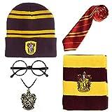 Monissy Harry Potter Zubehör Kostüm Set Kinder Erwachsene Accessories Gryffindor Hufflepuff Ravenclaw Slytherin Fanartikel Krawatte Schal Brille Halskette Unisex Cosplay Verkleidung Karneval Fasching