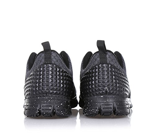 SNAPPY - Basket noire à lacets, en tissu, avec logo latéral, coutures visibles et semelle en caoutchouc, Fille, Filles, Femme, Femmes Noir