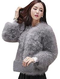 MIOIM Mujeres Chaqueta Jacket del Invierno de Manga larga Caliente de Piel Sintética de Fox Chaqueta de la Capa Corta Jacket Outwear