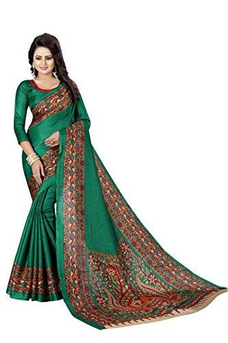 J B Fashion Women's green silk saree with blouse piece (saress for...