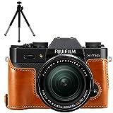 First2savvv XJPT-XT10-D09G6 marrón Funda Cámara cuero de la PU cámara digital bolsa caso cubierta para Fuji Fujifilm X-T10 XT10 X-T20 XT20 + mini trípode