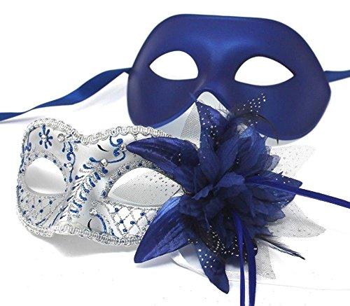 ilber u. Blau venezianische Maskerade Partei Karneval Masken Für Paare (Maskerade Masken Blau)