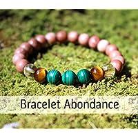 Pulsera abundancia y riqueza para la mujer, cuentas de madera y piedras naturales, malaquita, ojo de tigre, citrino, regalos cumpleaños, regalos para mujer