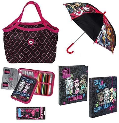 Familando Monster High Set Tasche Federmappe gefüllt Mädchen Schultertasche Vor-Schule Kindergarten