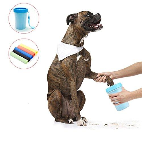 Hongci pet paw rondella + asciugamano da bagno, grande cane zampa clean, portable pet piede la tazza con un cane di pulizia asciugamano, blu mud dirt cup di lavaggio per cani e animali domestici (10x 8.5x 15cm)