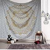 Indisch Psychedelic Wandteppich Mandala Metallic Gold weiß,Elefant Boho Wandtuch Hippie,Golden Boho Indischer weiss Wandbehang Tuch Queen 210x220 cms,Groß indien baumwolle Bohemian Wand tucher