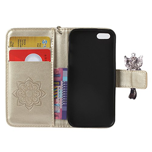 iPhone 5 5S SE Wallet Case iPhone 5 5S SE Flip Hülle Laoke Eule Blumen Muster Handyhülle Schutzhülle PU Leder Case Skin Brieftasche Ledertasche Tasche im Bookstyle in +Staubstecker (11) 12
