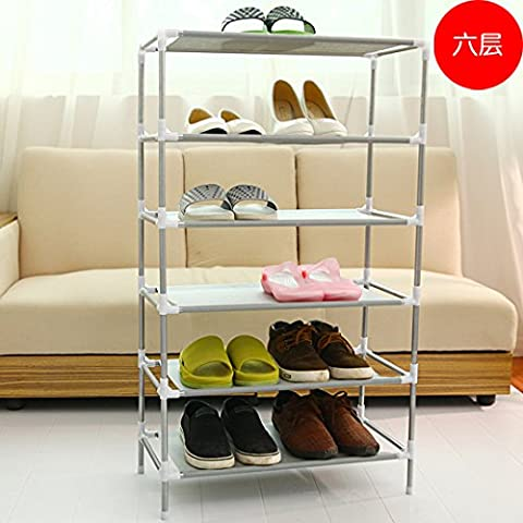 HJFF-Creative multilayer woven multi-function receive simple shoe rack shelf simple modern dormitory shoe,Six layer 8797