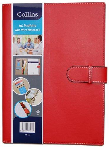 Collins - Carpeta tamaño A4 con cuaderno, color rojo